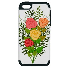 Roses Flowers Floral Flowery Apple Iphone 5 Hardshell Case (pc+silicone)