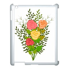 Roses Flowers Floral Flowery Apple Ipad 3/4 Case (white)
