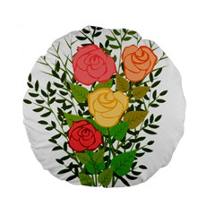 Roses Flowers Floral Flowery Standard 15  Premium Round Cushions