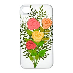 Roses Flowers Floral Flowery Apple Iphone 4/4s Hardshell Case With Stand by Nexatart