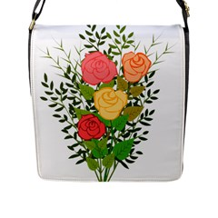 Roses Flowers Floral Flowery Flap Messenger Bag (l)  by Nexatart