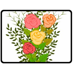 Roses Flowers Floral Flowery Double Sided Fleece Blanket (large)  by Nexatart