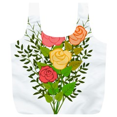Roses Flowers Floral Flowery Full Print Recycle Bags (l)