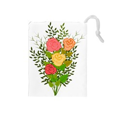 Roses Flowers Floral Flowery Drawstring Pouches (medium)