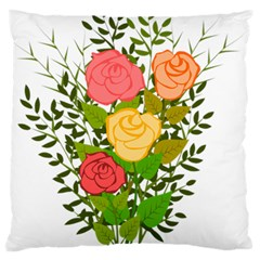 Roses Flowers Floral Flowery Standard Flano Cushion Case (two Sides) by Nexatart