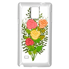 Roses Flowers Floral Flowery Samsung Galaxy Note 4 Case (white) by Nexatart