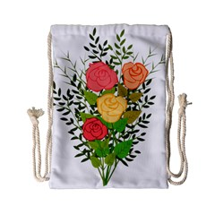 Roses Flowers Floral Flowery Drawstring Bag (small)