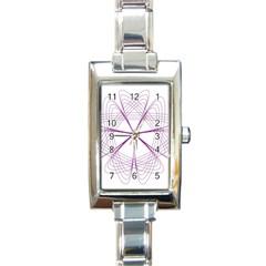Purple Spirograph Pattern Circle Geometric Rectangle Italian Charm Watch