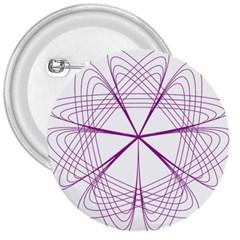 Purple Spirograph Pattern Circle Geometric 3  Buttons by Nexatart