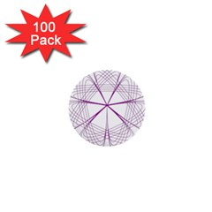 Purple Spirograph Pattern Circle Geometric 1  Mini Buttons (100 Pack)