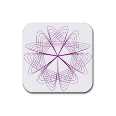 Purple Spirograph Pattern Circle Geometric Rubber Square Coaster (4 Pack)