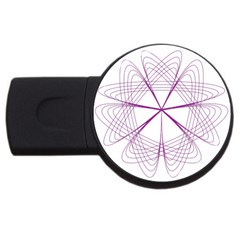 Purple Spirograph Pattern Circle Geometric Usb Flash Drive Round (2 Gb) by Nexatart