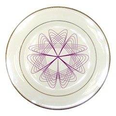 Purple Spirograph Pattern Circle Geometric Porcelain Plates by Nexatart