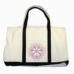 Purple Spirograph Pattern Circle Geometric Two Tone Tote Bag by Nexatart