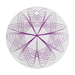 Purple Spirograph Pattern Circle Geometric Round Ornament (two Sides)