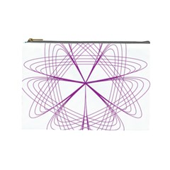 Purple Spirograph Pattern Circle Geometric Cosmetic Bag (large)