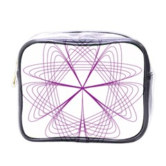 Purple Spirograph Pattern Circle Geometric Mini Toiletries Bags by Nexatart