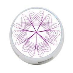Purple Spirograph Pattern Circle Geometric 4 Port Usb Hub (two Sides)