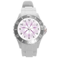 Purple Spirograph Pattern Circle Geometric Round Plastic Sport Watch (l) by Nexatart