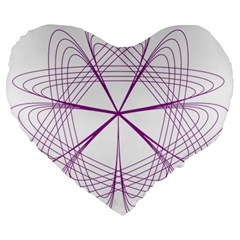 Purple Spirograph Pattern Circle Geometric Large 19  Premium Heart Shape Cushions