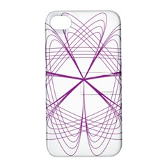 Purple Spirograph Pattern Circle Geometric Apple Iphone 4/4s Hardshell Case With Stand by Nexatart