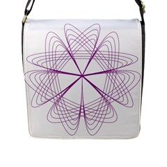 Purple Spirograph Pattern Circle Geometric Flap Messenger Bag (l)