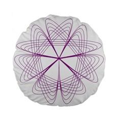 Purple Spirograph Pattern Circle Geometric Standard 15  Premium Flano Round Cushions