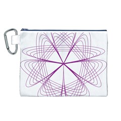 Purple Spirograph Pattern Circle Geometric Canvas Cosmetic Bag (l) by Nexatart