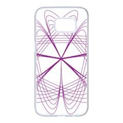 Purple Spirograph Pattern Circle Geometric Samsung Galaxy S7 Edge White Seamless Case by Nexatart