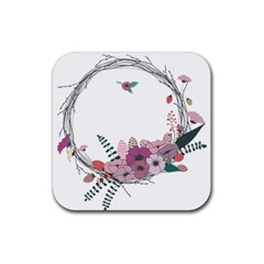 Flowers Twig Corolla Wreath Lease Rubber Square Coaster (4 Pack)  by Nexatart