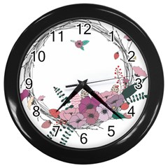 Flowers Twig Corolla Wreath Lease Wall Clocks (black)