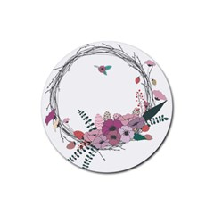 Flowers Twig Corolla Wreath Lease Rubber Coaster (round)