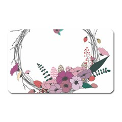 Flowers Twig Corolla Wreath Lease Magnet (rectangular) by Nexatart