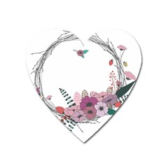 Flowers Twig Corolla Wreath Lease Heart Magnet by Nexatart