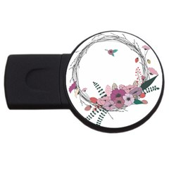 Flowers Twig Corolla Wreath Lease USB Flash Drive Round (1 GB) by Nexatart