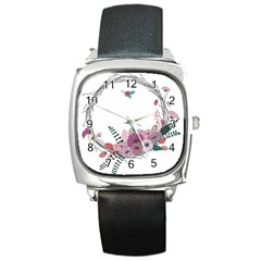 Flowers Twig Corolla Wreath Lease Square Metal Watch