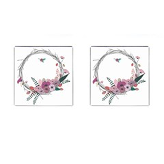 Flowers Twig Corolla Wreath Lease Cufflinks (square) by Nexatart