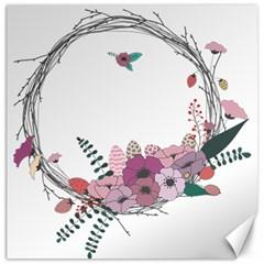 Flowers Twig Corolla Wreath Lease Canvas 16  X 16   by Nexatart