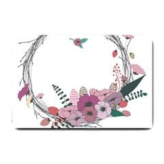 Flowers Twig Corolla Wreath Lease Small Doormat  by Nexatart