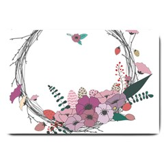 Flowers Twig Corolla Wreath Lease Large Doormat  by Nexatart