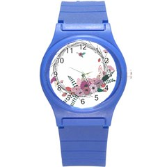 Flowers Twig Corolla Wreath Lease Round Plastic Sport Watch (s) by Nexatart