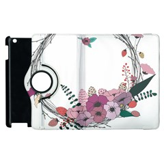 Flowers Twig Corolla Wreath Lease Apple Ipad 2 Flip 360 Case