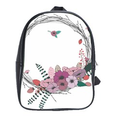 Flowers Twig Corolla Wreath Lease School Bags (xl)  by Nexatart