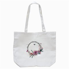 Flowers Twig Corolla Wreath Lease Tote Bag (white) by Nexatart