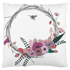 Flowers Twig Corolla Wreath Lease Large Flano Cushion Case (two Sides) by Nexatart