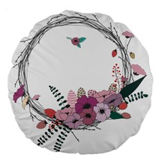 Flowers Twig Corolla Wreath Lease Large 18  Premium Flano Round Cushions by Nexatart