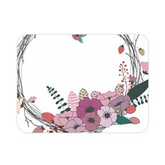Flowers Twig Corolla Wreath Lease Double Sided Flano Blanket (mini)