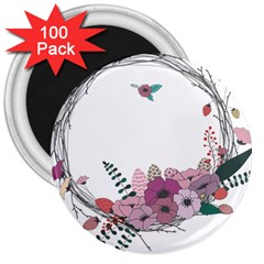 Flowers Twig Corolla Wreath Lease 3  Magnets (100 Pack) by Nexatart