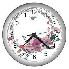 Flowers Twig Corolla Wreath Lease Wall Clocks (silver)
