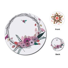 Flowers Twig Corolla Wreath Lease Playing Cards (round)  by Nexatart